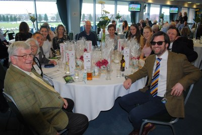 Horse racing owners enjoying Hambleton's Doncaster owners' day