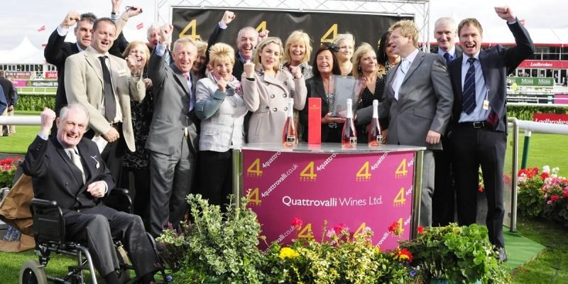 Owners syndicate celebrating their Doncaster win Hambleton Racing