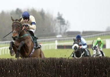 Whoshotthesheriff and Sean Quinlan win the Jumps At Home With Racing TV Novices' Chase (GBB Race) Trained by Phil Kirby Owned by Hambleton Racing Ltd XXXIV Catterick Racecourse 2nd March 2021 Pic: Louise Pollard